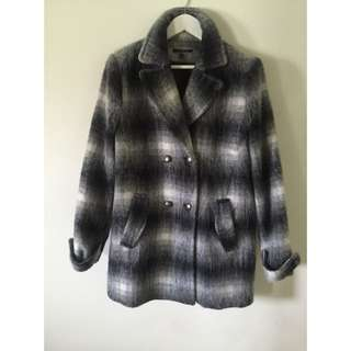 BASQUE WOMENS GREY CHECKERED WOOL COAT
