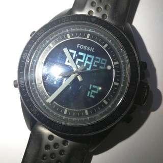 Fossil Men BQ9414 Decker Analog-Digital Black  Dial Silicon Watch