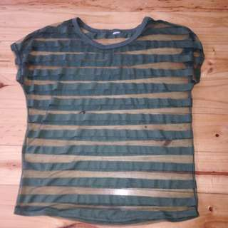 Green See-through Mesh Shirt