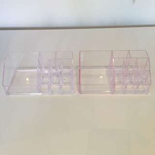 2 Acrylic Makeup Storage Containers
