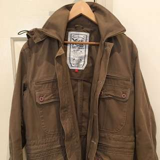 •REDUCED* FCUK Men's Jacket, Size S/M, Camel Colour