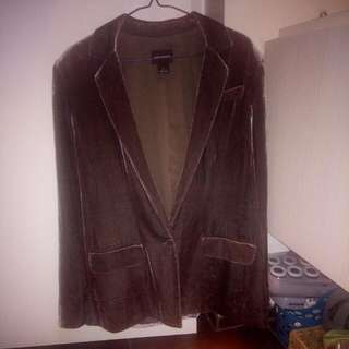 Size 8 Club Monaco grey oversized velvet blazer. Fit is oversized, medium like sizing.