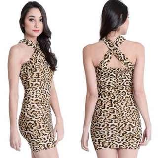 GT - 5289 Leopard Halter Dress