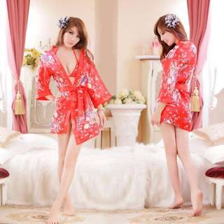SLP31 Ruby Kimono Robe W 2PC / Lingerie W/ G-String