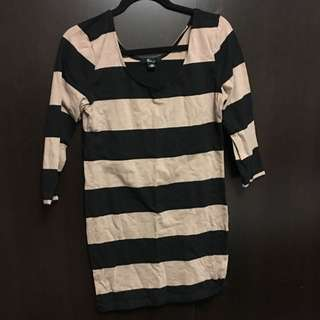 Nude/Black Striped Dress (Large)