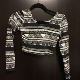 Print Long-Sleeve Crop Top (Small, New With Tags)