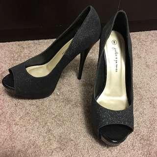 J&J Peep-toe Glitter Heels (Size 8)