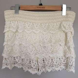 White Crochet Shorts