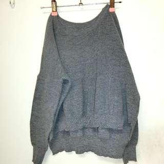 前短後長  微短版 落肩  灰色針織毛衣
