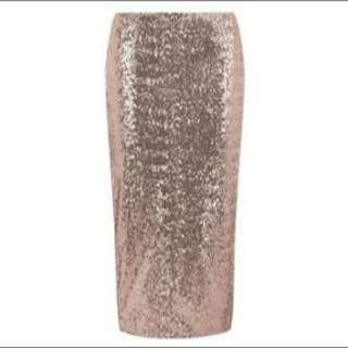 Dorothy Perkins Rose Gold Pencil Skirt Size 16