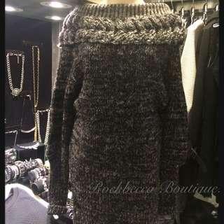 Rockbecca.氣質編織造型翻領毛衣連身裙
