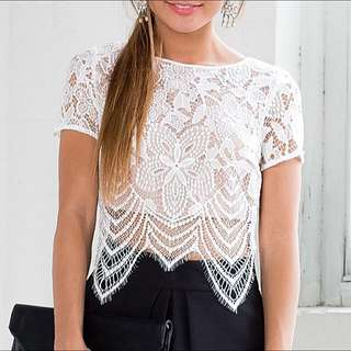 White Lace Crop Size 12