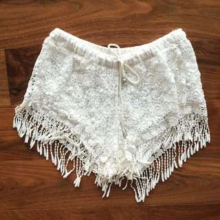 Cream Lace Fringe Shorts