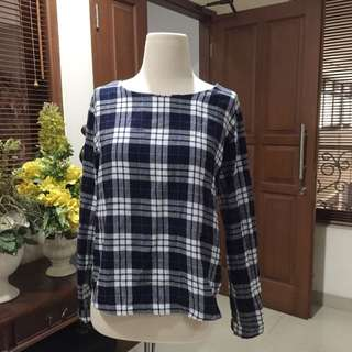 Navy Flannel Blouse