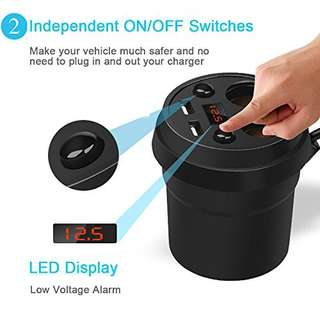 Car Cup Charger 2 USB Ports with 2-Socket Cigarette Lighter