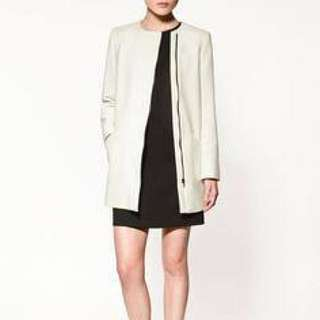 ZARA BASIC White Jacket/coat Size M