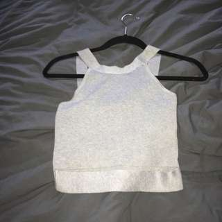 Grey cropped cut out top