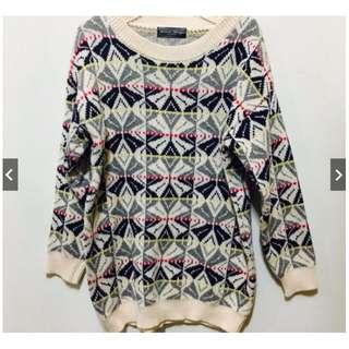 Queen shop 圖騰長版毛衣