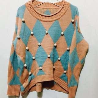 可愛點點粉系毛衣