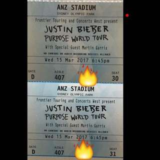 JUSTIN BIEBER TICKETS! A and B Reserve Grandstand