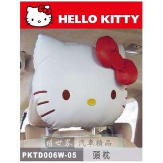 權世界@汽車用品 Hello Kitty 經典皮革系列 汽車座椅舒適頭枕 護頸枕(附置物袋) PKTD006W-05