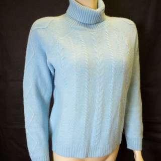 100%cashmere Wool 羊毛高領水藍毛衣 麻花