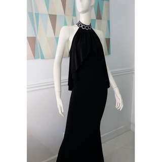 Black Backless Gown