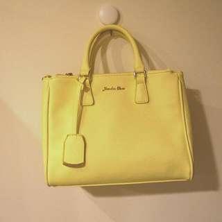 日本夢幻品牌 Jewelna Rose 粉嫩黃皮革手提包 手提袋 肩背包 斜背包 澀谷東急百貨專櫃購入