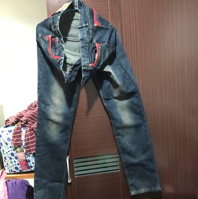 中大尺碼3XL 透氣舒適牛仔長褲