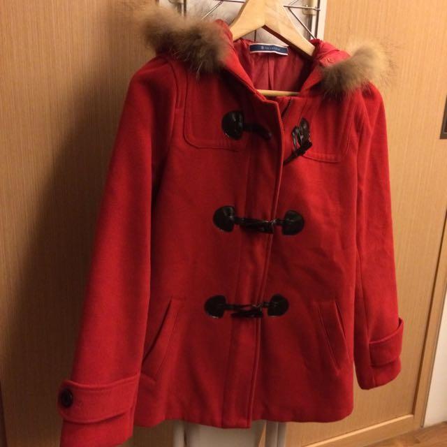 保暖大紅絨布外套