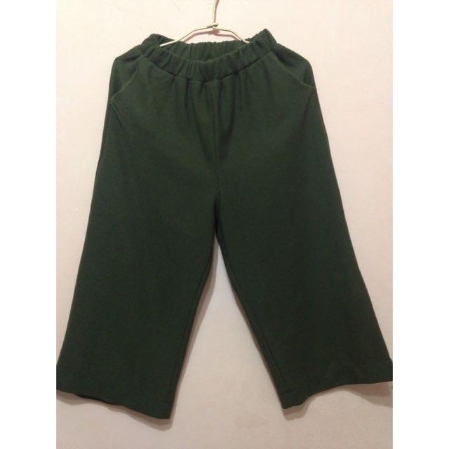 復古針織 厚版寬褲(深綠)