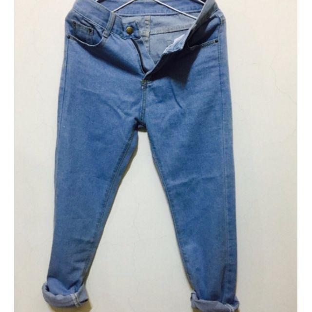 純色牛仔長褲 男友褲