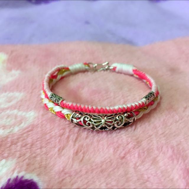 純銀蠶絲蠟線手環-蝴蝶銀管 雙圈 糖果粉系