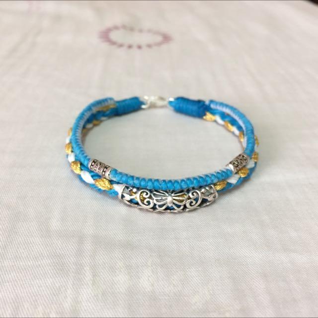 純銀蠶絲蠟線手環-蝴蝶銀管 雙圈 水藍系