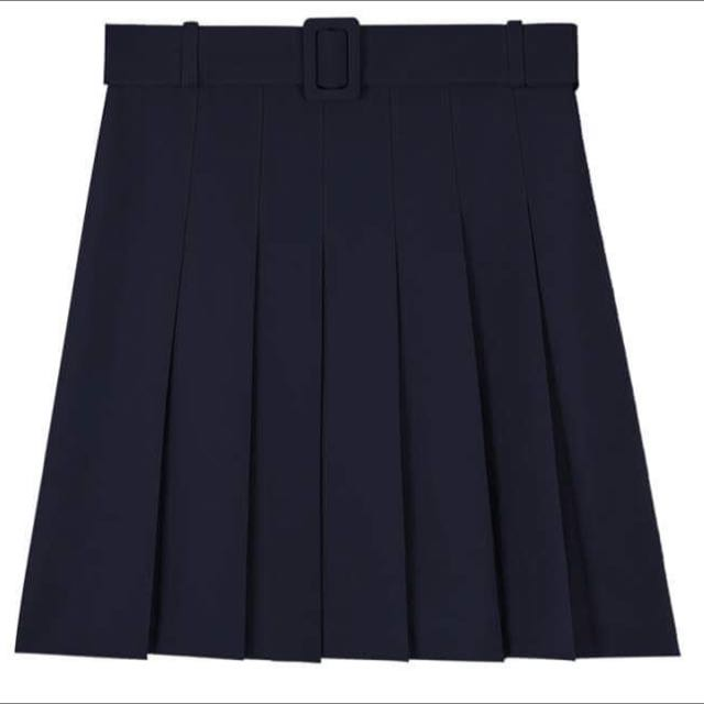 American Apparel Style Pleated Skirt (Beige) with Buckle belt and belt loop detailing