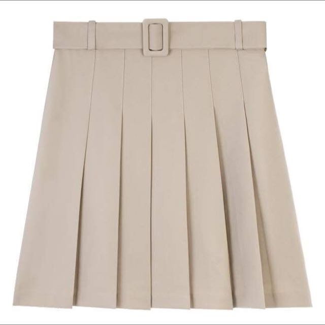 American Apparel Style Pleated Skirt (Beige) with Buckle belt and Belt Loops
