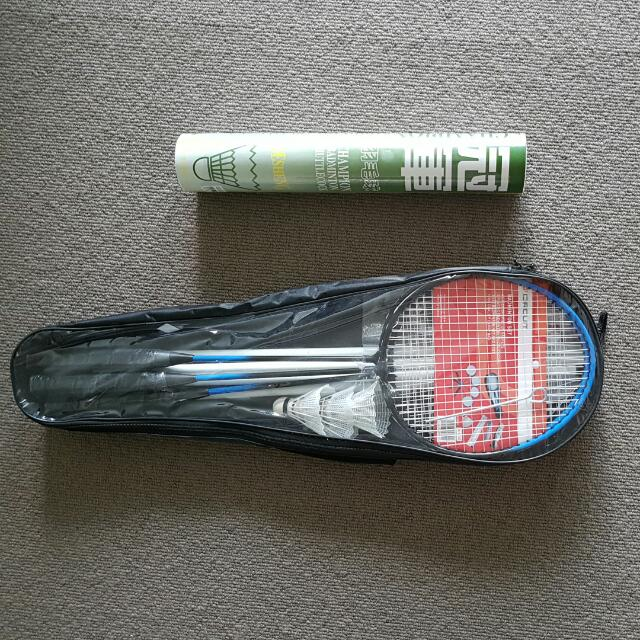 Badminton Racquets, Badminton Net & Post, Shuttlecocks