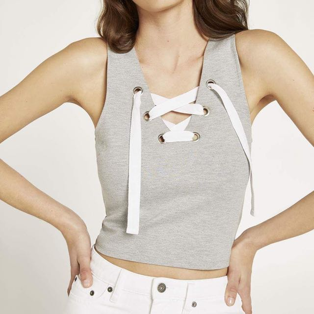 Bardot Grey Crop Top