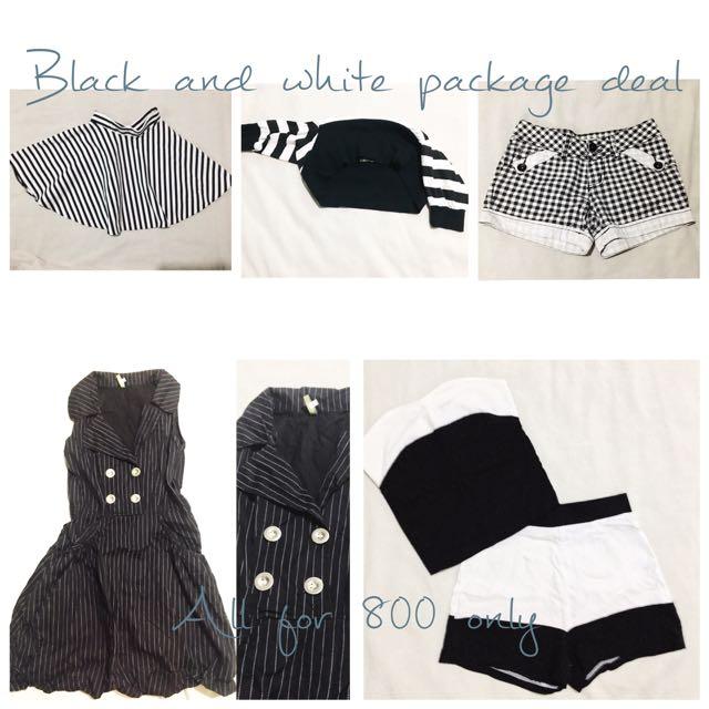 Black And White Dress, Skirt, Shorts, Top