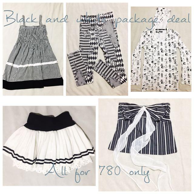 B&W Dress, Leggings, Sweater, Skirt, Top