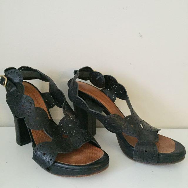 Chie Mihara Black Leather Heeled Sandal