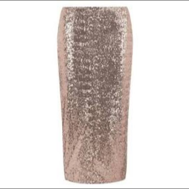 Dorothy Perkins Rose Gold Pencil Skirt Size 16