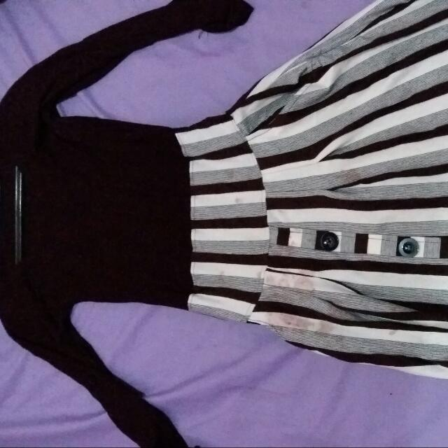 Dress Cokelat Motif Garis