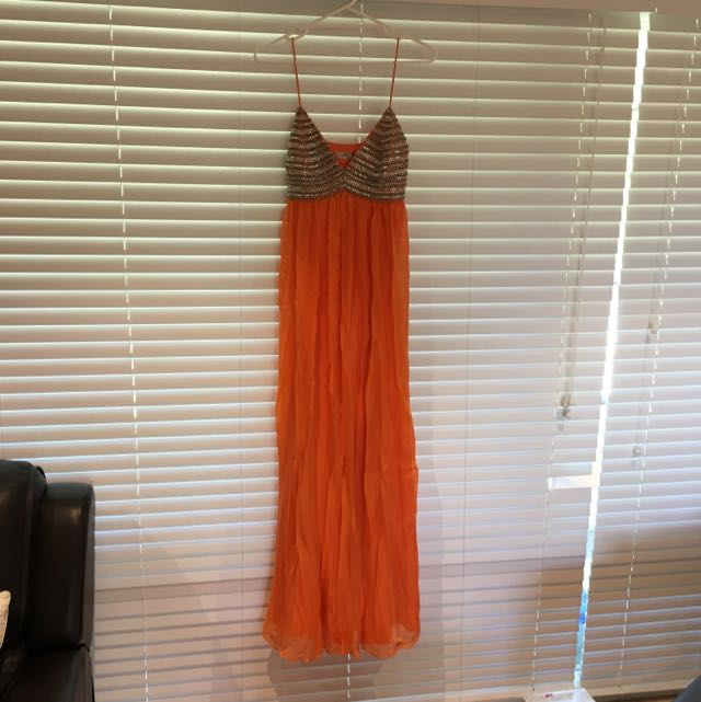 Evening Dress /gown + Orange + Beaded