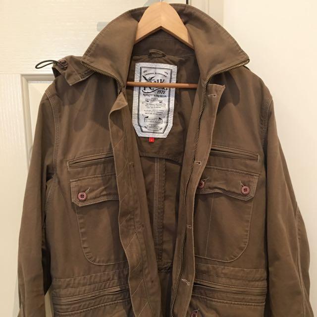 •REDUCED* FCUK Men's Jacket, Size S/M, Camel Colour