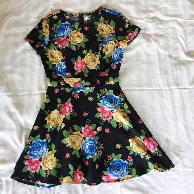 Forever21 Floral Black Dress