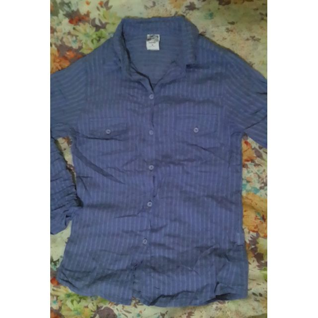 Repriced! Freeway Blue Striped Polo Collared Shirt