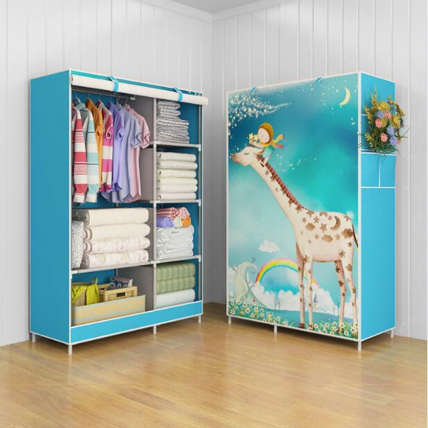 Giraffe Multifunction Wardrobe Cloth Rack with cover lemari pakaian