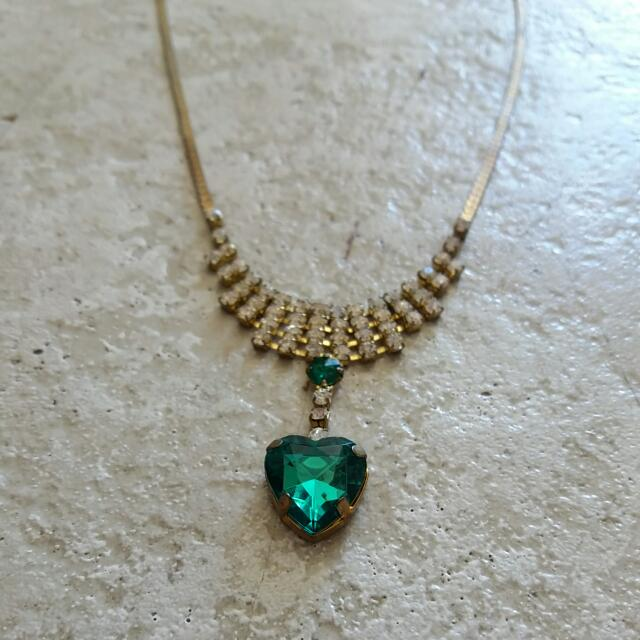 Green Dimond Heart Necklace