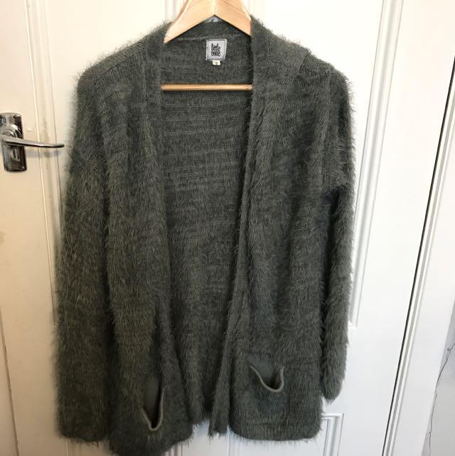 Grey Fluffy Cardi